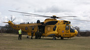 The famous yellow helicopter is a welcome sight to many who rely on the search and rescue service.  It is the only part of the RAF to remain at Chivenor since the base became the home of the Royal Marines.  Courtesy of John and Mary Breeds.