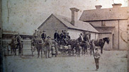 Cab stand outside Braunton station, 1904