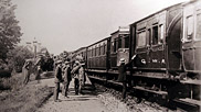 The Gloucestershire Royal Field Artillery are seen here boarding a train at Braunton station circa 1914.  Research suggests that they had visited Braunton before, during 1911, to practice using their 15 pounder BLC (breech loading converted) guns.  A report to the Army council, by the inspector of RH and RFA into the work of the brigade, was very satisfactory.  Courtesy of Braunton Museum and with thanks to Derek J Driscoll.