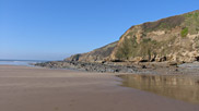 The tide is out and there's a gloriously blue sky overhead – a fine day at Saunton.  Courtesy of Dave Edgcombe.